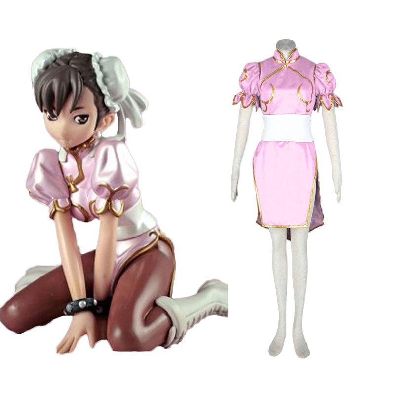 Street Fighter Chun- Li 3 Pink Cosplay Costumes UK