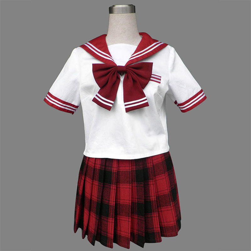 Sailor Uniform 6 Red Grid Cosplay Costumes UK