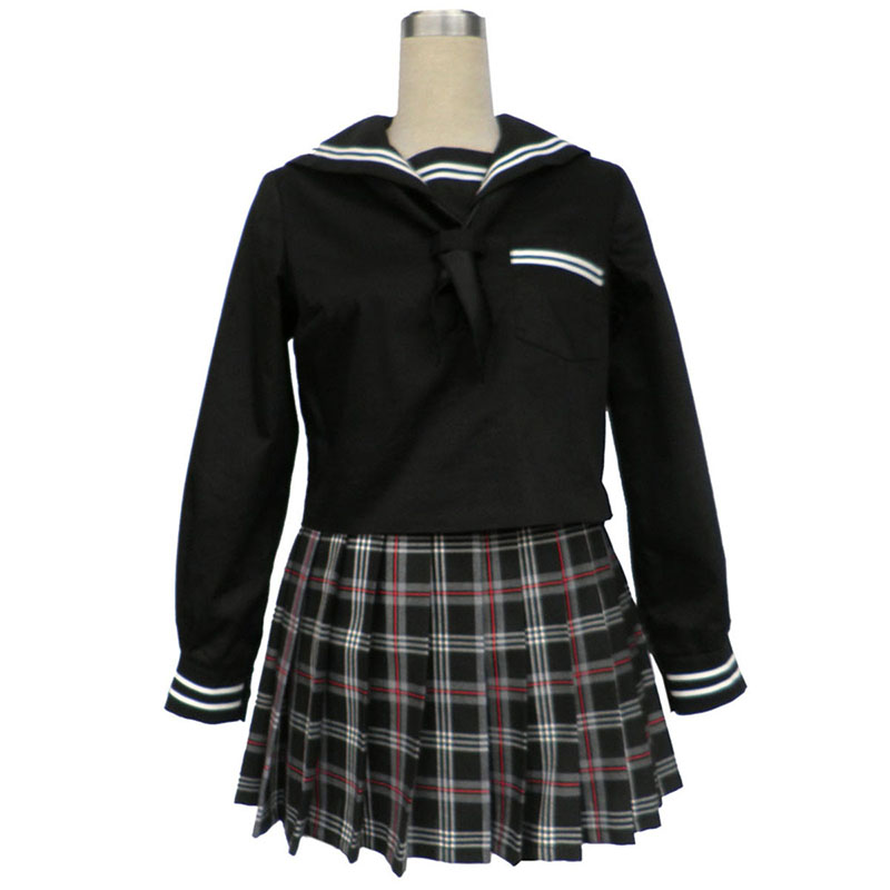 Sailor Uniform 7 Red Black Grid Cosplay Costumes UK