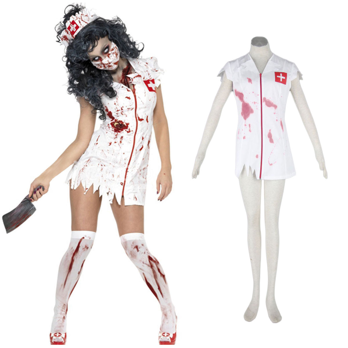 Halloween Culture Zombie Burst Blood Nurses 1 Cosplay Costumes UK