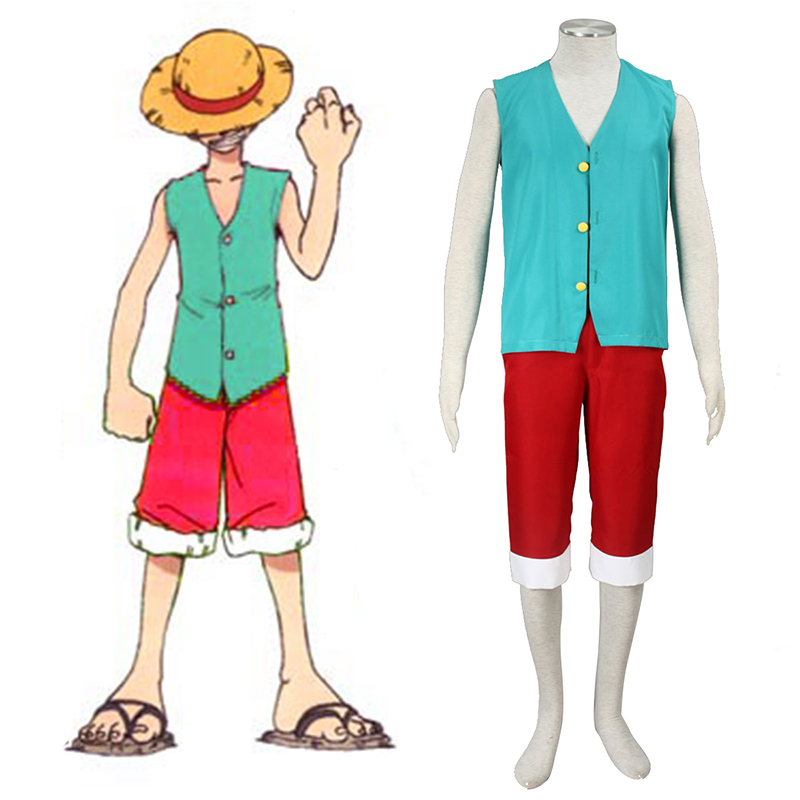 One Piece Monkey D. Luffy 3 Green Cosplay Costumes UK