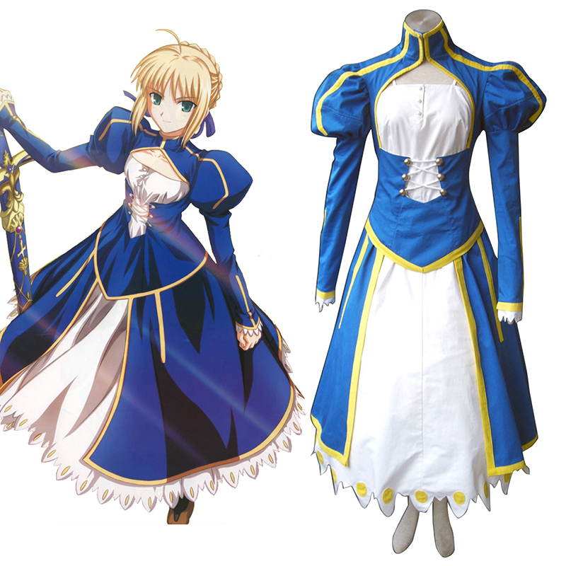 The Holy Grail War Saber 1 Blue Cosplay Costumes UK