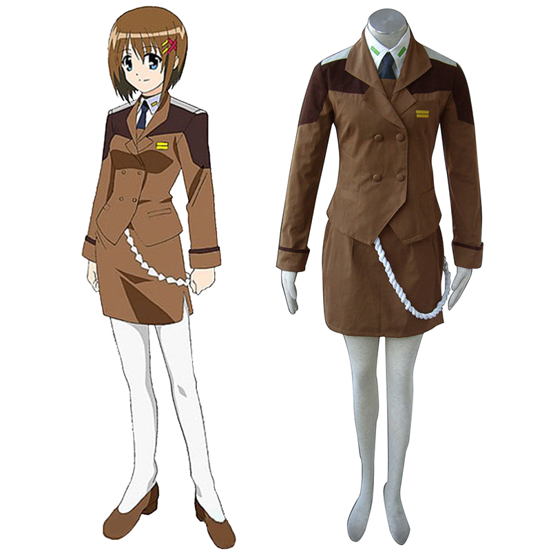 Magical Girl Lyrical Nanoha Female Military Uniform Cosplay Costumes UK