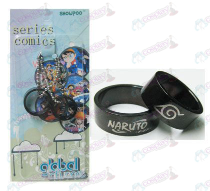 Naruto konoha card installed black steel couple rings