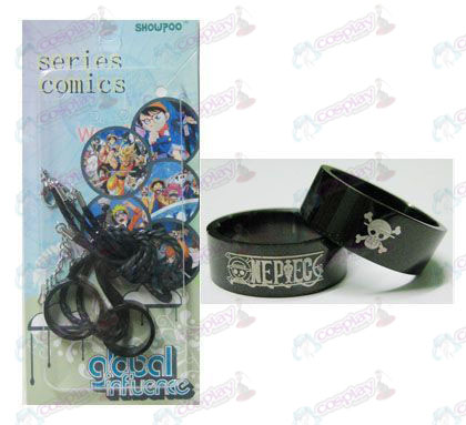 One Piece Accessories black steel couple rings necklace (Rope)