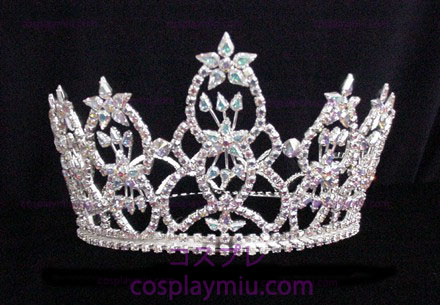 Rhinestone Crown Silver with AB Iridescent Stones