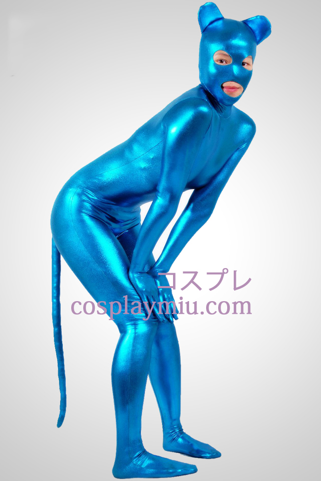 Blue Mouth Pattern Shiny Metallic Zentai Suit