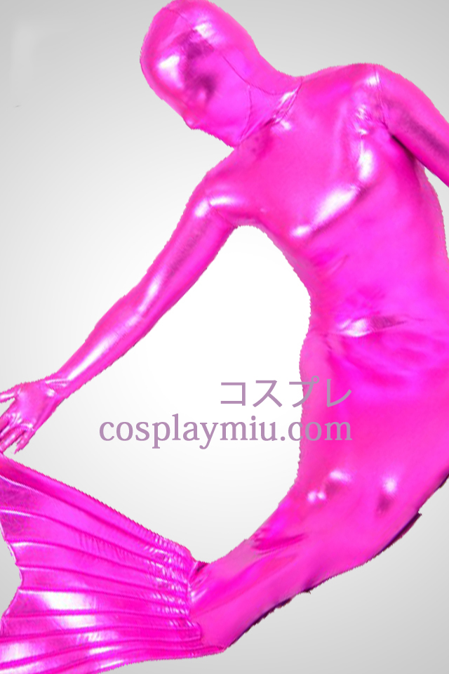 Rose Shiny Metallic Mermaid Zentai Suit