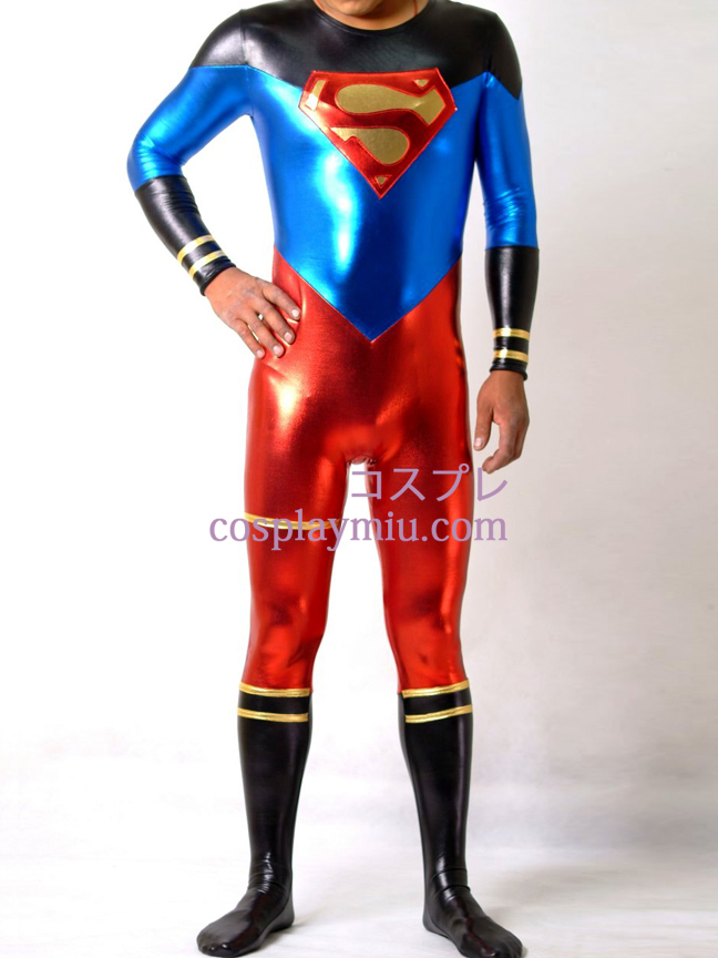 Shiny Metallic Superman Superhero Catsuit