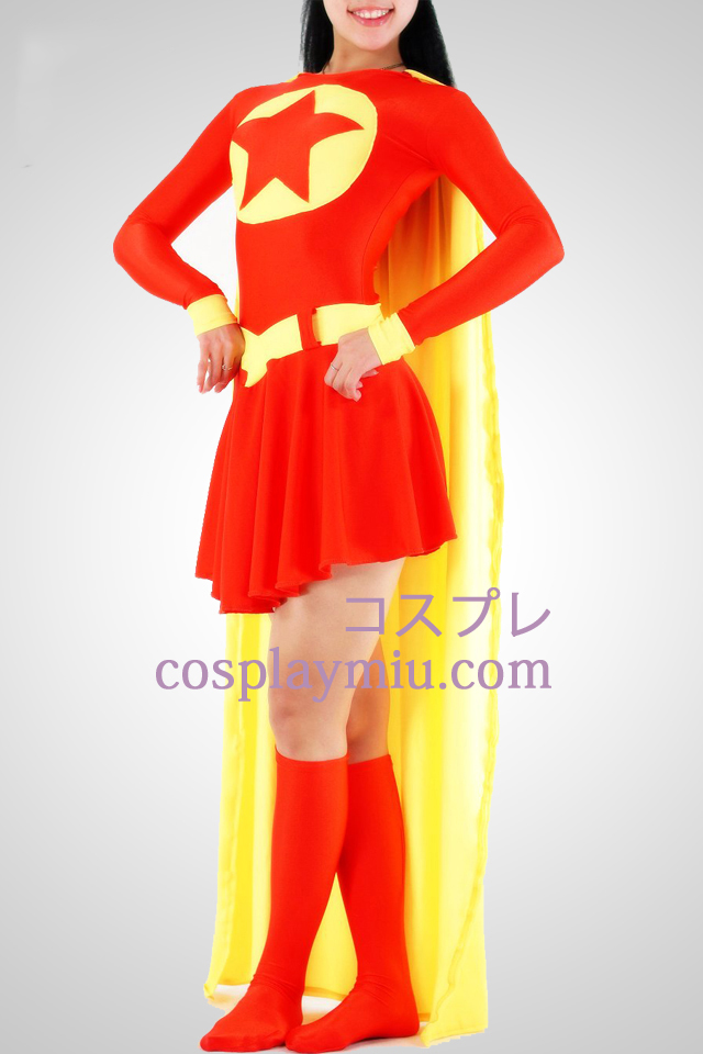 Red And Yellow Super Woman Lycra Superhero Catsuit