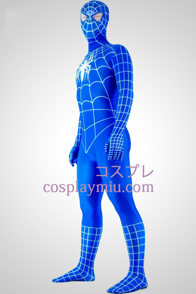 Blue And White Lycra Spandex Spiderman Superhero Zentai Suit