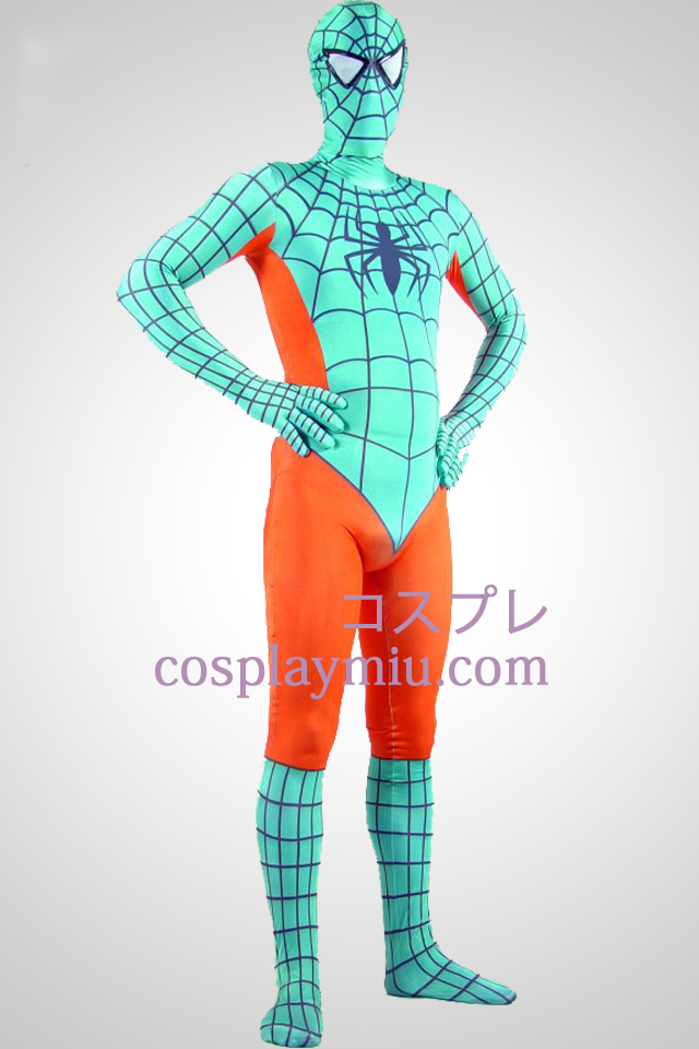 Light Green And Orange Lycra Spandex Spiderman Zentai Suit