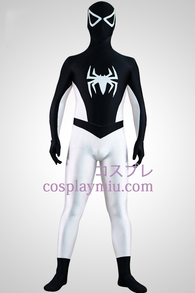 Half White Half Black Spiderman Superhero Zentai Suit