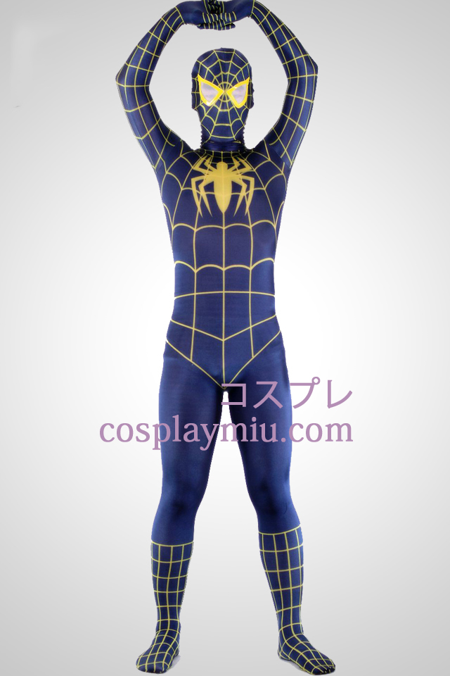 Blue And Yellow Lycra Spandex Spiderman Superhero Zentai Suit