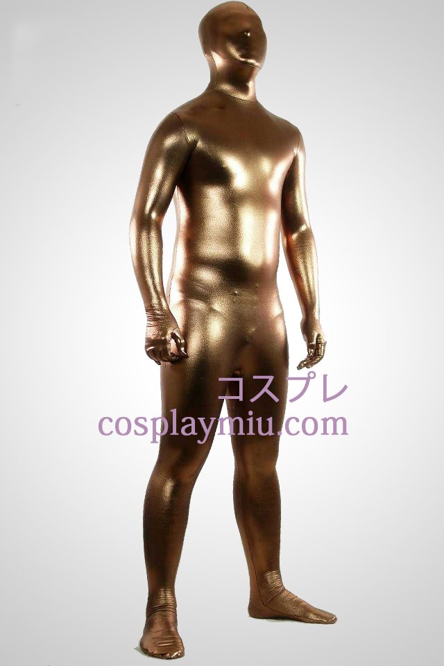 Coffee Shiny Metallic Zentai Suit