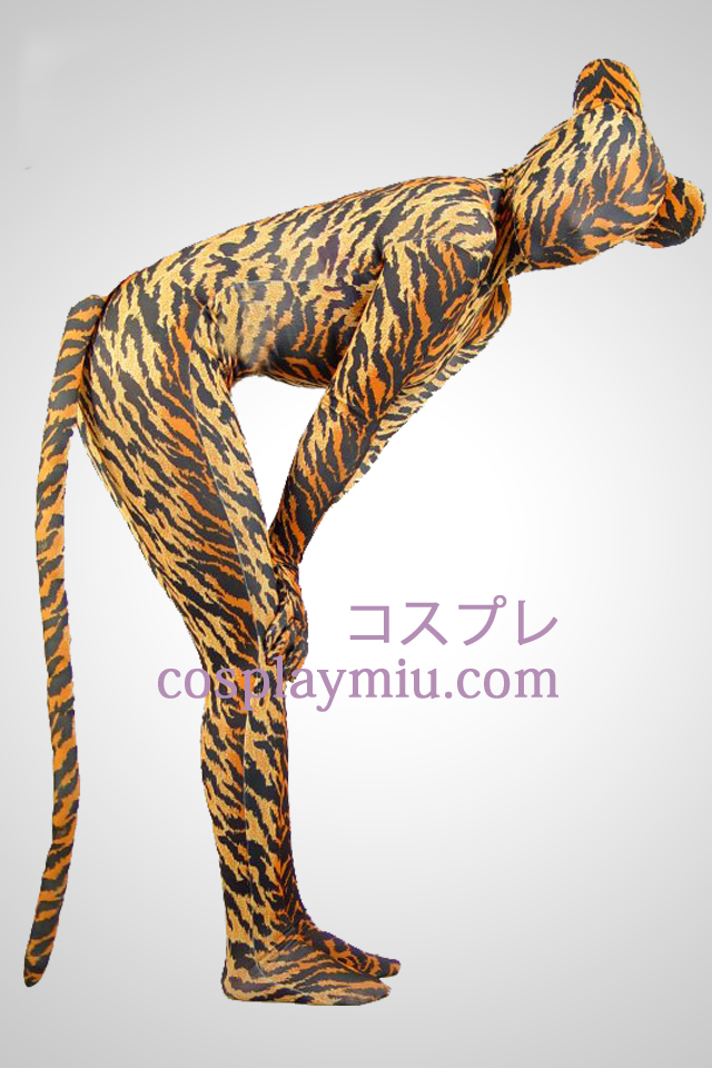 Tiger Skin Lycra Spandex Unisex Zentai Suit With Tail